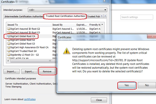 Google Chrome - Delete Root CA Certificate from Google Chrome